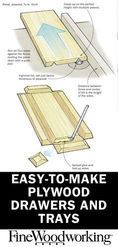 Easy Woodworking Projects Easy-to-make plywood drawers and trays How to make small, strong trays using V-shaped grooves Woodworking Outdoor Furniture, Woodworking Guide, Easy Woodworking Projects, Woodworking Techniques, Custom Woodworking, Fine Woodworking, Woodworking Supplies, Woodworking Classes, Youtube Woodworking