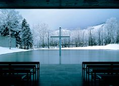 """""Church on the Water"" is located near Tomamu in the heart of the island of Hokkaido, northern Japan and was constructed in 1988. Ando has replaced the front wall of the temple, which usually showcases something of religious significance, with a more vivid and eloquent representation of the creator: nature itself."""