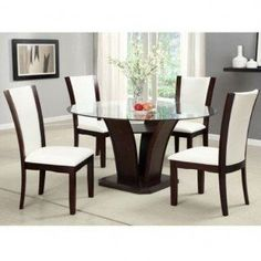 Dining Table Set Dark Cherry Round Glass Ivory White Leatherette Home Kitchen F