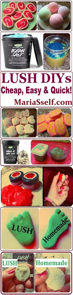 DIY LUSH Product Recipes, How to Make them CHEAP, EASY & QUICK on www.MariaSself.com Homemade Gift Ideas for Saint Valentine's Day, Birthday, Mother's Day or Christmas #lush #lushdiy #homemadelush #lushrecipes #lushcopycat #oceansalt #oceansaltscrub #beauty #beautyrecipes #diybeauty #homemadebeauty #giftideas #diygiftideas #natural #parabenfree #mariasself #cheapbeauty #frugal #homemade #diyspa #homemadespa