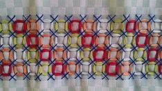 Bordado em tecido xadrez - Amostra/Barradinho (Detalhes sobre o bordado... Visitar)