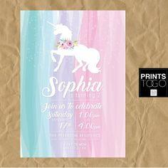 Unicorn invitation Unicorn party First birthday by PrintsToGo