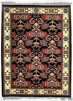 INDO-Shalom, FARAHAN, Black / Ivory (Rectangle)