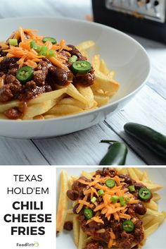 It's fall time, and that means foods for watching le football and le hockey. Also hot, quick and dirty family dinners, and lazy day stuff. These SUPER fast Texas Hold'em Chili Cheese Fr… Yummy Appetizers, Appetizers For Party, Appetizer Recipes, Chili Cheese Fries, Vegetarian Side Dishes, How To Cook Ham, Crockpot Recipes, Food Porn, Easy Meals