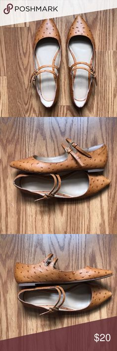 Banana Republic Shoes Banana Republic Ostrich printed leather shoes. Double buckle strap. Right shoe has light scratch on upper left side as seen in last photo. Size 7. Banana Republic Shoes Flats & Loafers