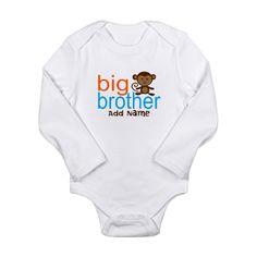 Personalized Monkey Big Brother Long Sleeve Infant Bodysuit