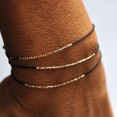 Delicate Silver on black silk bracelet - Vivien Frank Designs