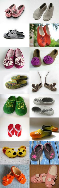 Felted shoes Collection made by Raul Carvalho on Etsy My orange slippers included