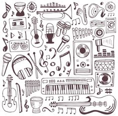 Buy Music Doodle Collection by Qilli on GraphicRiver. Vector design elements notes and musical instruments. Guitar Doodle, Music Doodle, Bullet Journal Banner, Bullet Journal Ideas Pages, Music Collage, Art Music, Music Drawings, Easy Drawings, Music Sketch