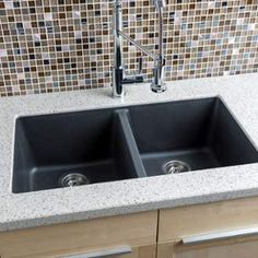 """View the Miseno MGR33185050 33"""" Undermount Double Bowl Granite Composite Kitchen Sink with 50/50 Split - Stainless Steel Drain Assemblies Included Free at Build.com."""