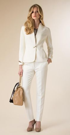 White Pants Suit with Printed Sateen Blouse