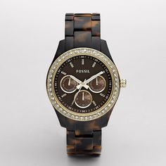 Fossil Stella Resin Watch - Tort with Gold-Tone ($105) ❤ liked on Polyvore