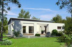 Klare Linien und keinerlei Kompromisse in Sachen Komfort – so präsentiert sich der neue Pultdach-Bungalow aus der PlanMit-Reihe vom Ökohaus-Pionier Baufritz.