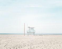 Santa Monica Beach Photography Lifeguard by ColorPopPhotoShop California Beach, Beach Print, San Diego Beach, Lifeguard, Beach Photography, Large Wall Art, Santa Monica, Blue Art, Ocean Beach