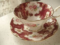 vintage bone china tea cup and saucer set, Princess Anne English tea cup, red gold pink rose cup. $39.00, via Etsy.
