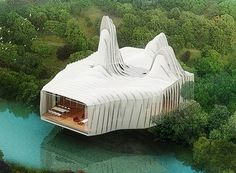 Birds Island. Birds Island is a sustainable dwelling. Its outer skin collects rain water, and harnesses solar energy and wind power. The structure's placement on a pier is another nod to energy efficiency. It allows the natural cooling of the water underneath and permits energy collection and distribution from nearby lotuses. A cool house from the future.