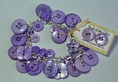 Purple button bracelet and earrings set by FruitOfMyLabor on Etsy