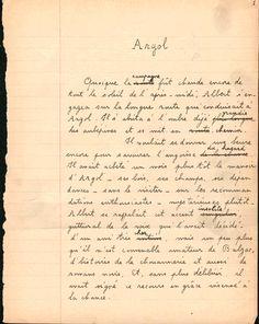 Julien Gracq, image de la première page manuscrite de Au château d'Argol