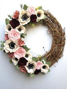 Spring Wreath - Felt Flower Wreath - Grapevine Wreath - Front Door Wreath - Modern Wreath - Rustic Wreath - Felt Wreath - Farmhouse Wreath by FifthStreetDesigns on Etsy Felt Flower Wreaths, Felt Wreath, Diy Wreath, Felt Flowers, Grapevine Wreath, Fabric Flowers, Paper Flowers, Yarn Wreaths, Floral Wreaths