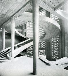 The staircase inside Perret's Musée des Travaux Publics, Paris