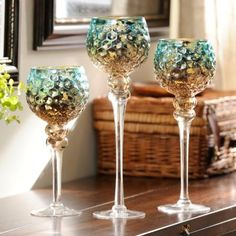 Blue & Brown Mercury Glass Charisma, Set of 3 : Kirklands Set of three candle holders measures and in. Gold Living Room, Teal Living Room Decor, Brown Candles, Glass, Mercury Glass, Peacock Room Decor, Blue Home Decor, Dinning Room Decor, Candle Holder Set