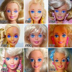 lévolution du visage de Barbie en 56 ans  2Tout2Rien
