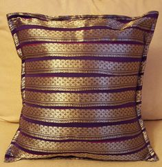 Silk Cushion Cover, pillow cover, sofa cushion cover 14 inches X 14 inches (36 cm x 36 cm) in purple and silver by KalaaStudio on Etsy