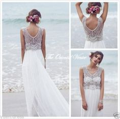 Anna Campbell Beach Wedding Dresses Bohemian Beaded Chiffon Bridal Gown All Size