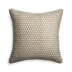 """Shop Cadence 18"""" Pillow.  Made in Indian villages bordering Pakistan, this stunning pillow is block printed by hand with metallic ink and then painstaking embroidered with a technique distinctive to the region."""