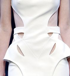 Sharp lines, symmetry & structure - white dress with cut-out bodice detail // Hakaan SS11