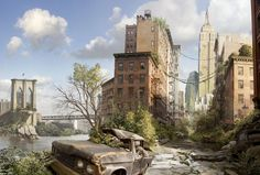 Interesting, beautiful and rather shocking picture of post-apocalyptic period, which is very clearly visible destroyed huge metropolis, massive spontaneous survived the apocalypse. Post Apocalypse, Nuclear Apocalypse, Apocalypse Aesthetic, City Wallpaper, Wallpaper Backgrounds, Desktop Wallpapers, Bridge Wallpaper, Mobile Wallpaper, City Ville