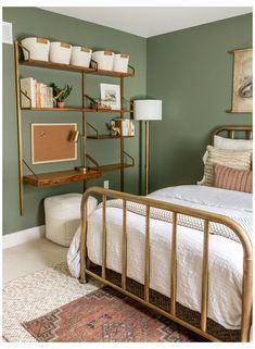 Green Bedroom Walls, Sage Green Bedroom, Room Design Bedroom, Room Ideas Bedroom, Home Decor Bedroom, Bedroom Boys, Olive Bedroom, Sage Green Walls, Bedroom Modern