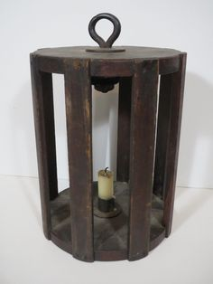 Rare & Unusual Early 19th C. New England Wooden Cage Lantern Candle Holder Museum Quality, Very Unique Design, C. 1820-40 Sold Ebay 530.00.