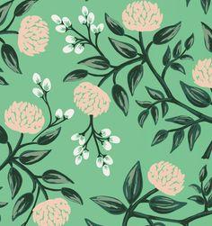 Peonies (Mint) Screen Printed (riflepaper)