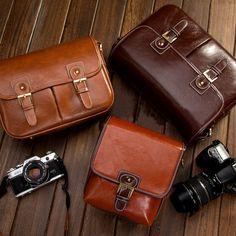 DSLR Camera Bag - Canon Camera Bag - Nikon Camera Bag - Vintage Look Brown Leather Shoulder Bag on Etsy, $29.99