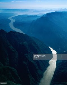 Aerial view of Three Gorges of Yangtze River in China. Picture taken in 1999. Xiling Gorge or Xiling Xia.