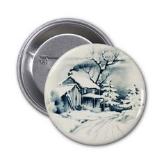 Vintage Christmas Country Button illustration