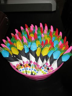 Yo Gabba Gabba party ideas- love the color combo of utensil would add backing behind stickers