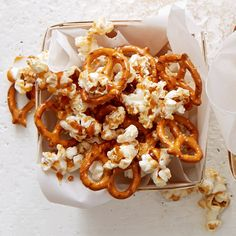 Popcorn and pretzels combine for a satisfying snack mix that's perfectly sweetened with a hint of caramel. #healthysnacks #snacks #recipe #eatingwell #healthy