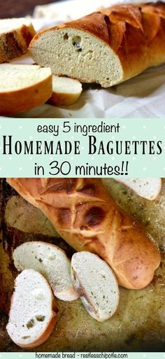 Quick and easy, this homemade baguette recipe is ready in 30 minutes. So easy a beginning bread baker can make it. From RestlessChipotle.com via @Marye at Restless Chipotle