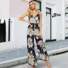 2cd2add93fae4 Women's Floral V-Neck Jumpsuit. Floral JumpsuitMom DressJumpsuits For WomenTrendy  FashionBoho FashionLookPassion For FashionFlower GirlsBoho Style