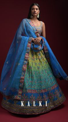 Turq And Green Shaded Lehenga With Printed Chevron And Floral Motifs And Jaal Pattern Online - Kalki Fashion Lehenga Style, Lehenga Designs, Floral Motif, Traditional Art, Indian Fashion, Choker, Roots, Chevron, Ball Gowns