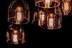 decorative incandescent lighting on a black background