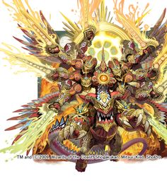 Duel Masters artwork by Toshiaki Takayama Mythical Creatures Art, Fantasy Creatures, Fantasy Images, Fantasy Art, Armor Concept, Concept Art, Character Art, Character Design, Beast Creature
