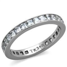 Women's Clear Princess Square CZ Stainless Steel Eternity Anniversary Band Ring #Journey