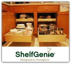 No need to crawl inside your #cabinets to reach the big stock pot in the back when you have pull out #shelves. ShelfGenie puts everything within reach.  #KitchenOrganization  #StorageSystems  #PullOutShelves