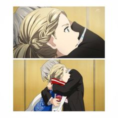 Victor is hugging Yurio for winning the Gold Medal this is so fucking cute but Yuri and Victor are my thing though