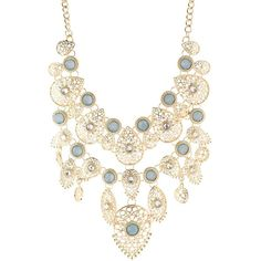 Charlotte Russe Gemstones & Filigree Bib Necklace ($9.99) ❤ liked on Polyvore featuring jewelry, necklaces, gold, gemstone jewellery, bib necklace, gemstone jewelry, filigree necklace and charlotte russe necklaces