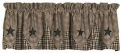 India Home Fashions Vintage Star Black Lined Pointed Curtain Valances