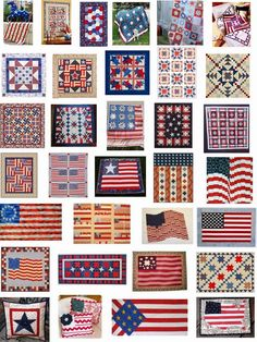 Free patterns: Flags; red, white and blue quilts.  Updated March 22, 2015